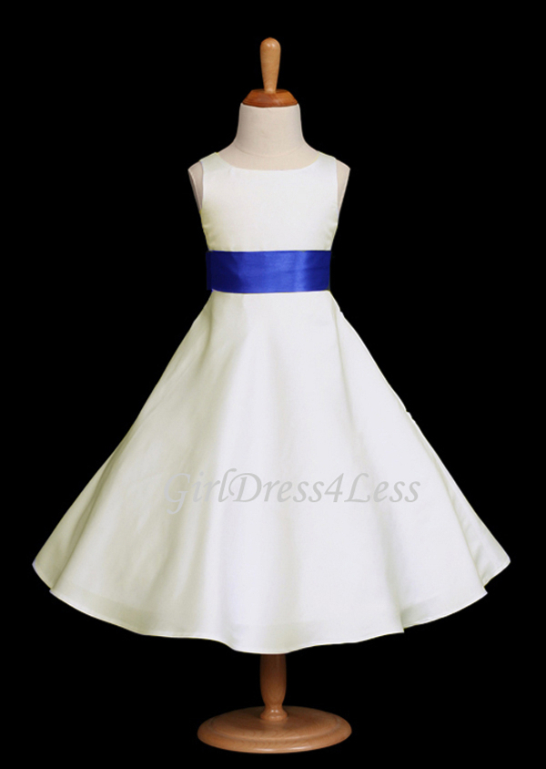 c60a8192d8b Ivory Matte Satin A Line Flower Girl Dress