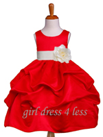 True Red Matte Satin Pick-Up Flower Girl Dress With Bow