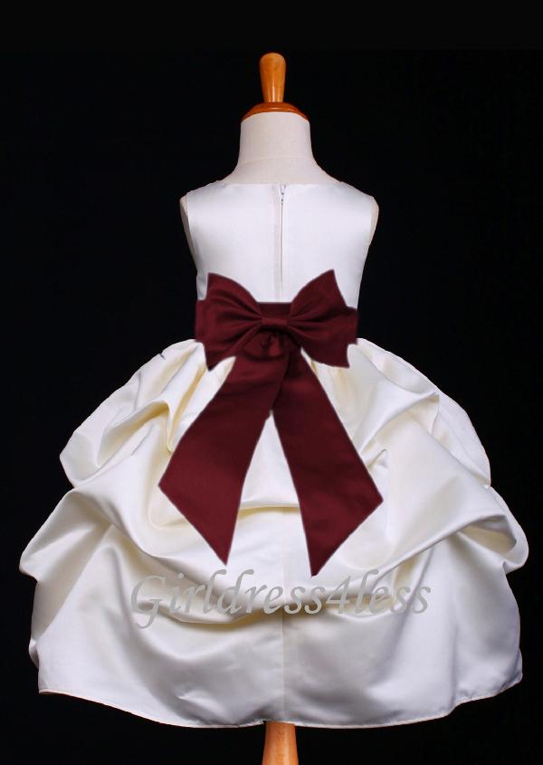 42f8403cc F11 Ivory Full Satin Pick-Up Flower Girl Dress