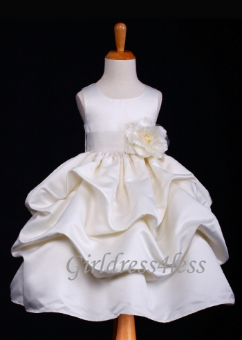3c77e496814 F11 Ivory Full Satin Pick-Up Flower Girl Dress