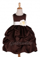 Brown Matte Satin Pick-Up Flower Girl Dress With Bow