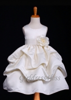 Ivory Matte Satin Pick-Up Flower Girl Dress With Bow