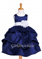 Navy Matte Satin Pick Up Flower Girl Dress With Bow
