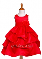 F11 True Red Full Satin Pick-Up Flower Girl Dress