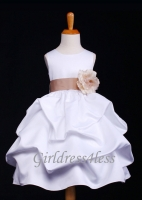 F11 White Full Satin Pick-Up Flower Girl Dress