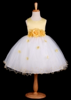 F12 Yellow Flower Petals Dress With Ruffled Hem