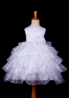 F05 White Tiered Organza Flower Girl Dress