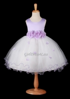F12 Lilac Flower Petals Dress With Ruffled Hem